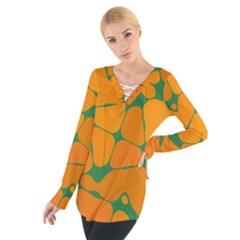 Orange Shapes                                                                                         Women s Tie Up Tee