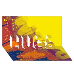 Colorful abstract pattern HUGS 3D Greeting Card (8x4)