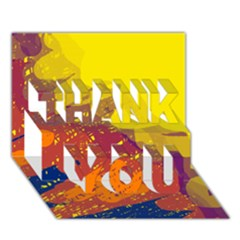 Colorful abstract pattern THANK YOU 3D Greeting Card (7x5)