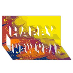 Colorful abstract pattern Happy New Year 3D Greeting Card (8x4)