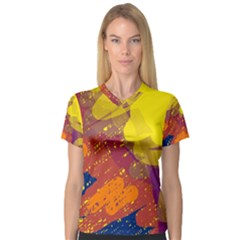 Colorful abstract pattern Women s V-Neck Sport Mesh Tee