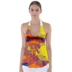 Colorful abstract pattern Babydoll Tankini Top
