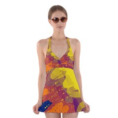 Colorful abstract pattern Halter Swimsuit Dress