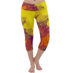 Colorful abstract pattern Capri Yoga Leggings