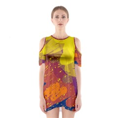 Colorful Abstract Pattern Cutout Shoulder Dress