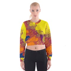 Colorful abstract pattern Women s Cropped Sweatshirt