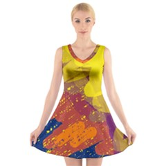 Colorful abstract pattern V-Neck Sleeveless Skater Dress