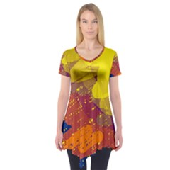 Colorful Abstract Pattern Short Sleeve Tunic