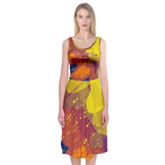 Colorful Abstract Pattern Midi Sleeveless Dress