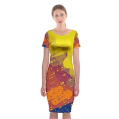 Colorful abstract pattern Classic Short Sleeve Midi Dress