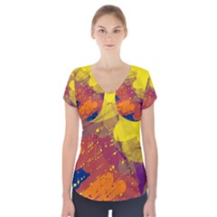 Colorful abstract pattern Short Sleeve Front Detail Top