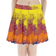 Colorful abstract pattern Pleated Mini Mesh Skirt