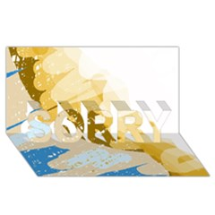 Artistic Pastel Pattern Sorry 3d Greeting Card (8x4)