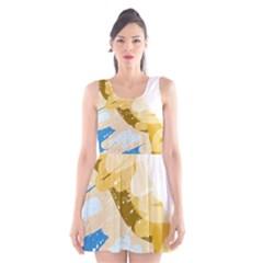 Artistic Pastel Pattern Scoop Neck Skater Dress