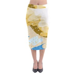 Artistic pastel pattern Midi Pencil Skirt