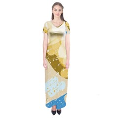 Artistic pastel pattern Short Sleeve Maxi Dress