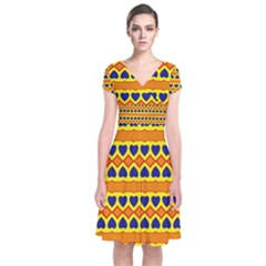 Hearts and rhombus pattern                                                         Short Sleeve Front Wrap Dress