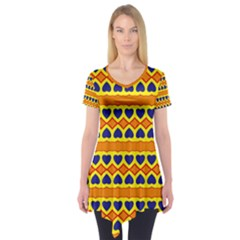 Hearts and rhombus pattern                   Short Sleeve Tunic