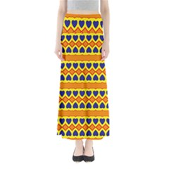 Hearts And Rhombus Pattern                                            Women s Maxi Skirt