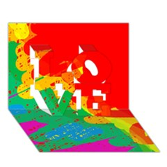 Colorful abstract design LOVE 3D Greeting Card (7x5)