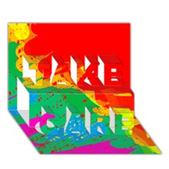 Colorful abstract design TAKE CARE 3D Greeting Card (7x5)