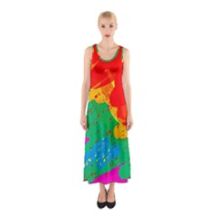 Colorful abstract design Sleeveless Maxi Dress