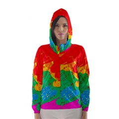 Colorful abstract design Hooded Wind Breaker (Women)