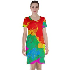 Colorful abstract design Short Sleeve Nightdress