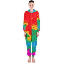 Colorful abstract design Hooded Jumpsuit (Ladies)