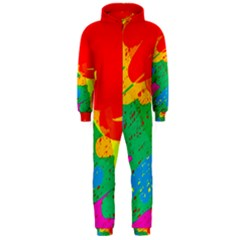 Colorful abstract design Hooded Jumpsuit (Men)