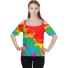 Colorful Abstract Design Women s Cutout Shoulder Tee