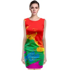 Colorful Abstract Design Classic Sleeveless Midi Dress