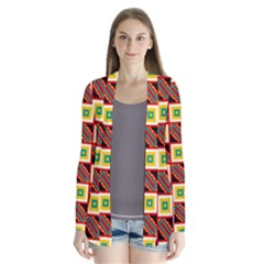 Squares And Rectangles Pattern       Drape Collar Cardigan
