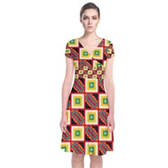 Squares and rectangles pattern                                                         Short Sleeve Front Wrap Dress