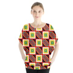 Squares and rectangles pattern                Batwing Chiffon Blouse