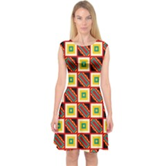 Squares and rectangles pattern                        Capsleeve Midi Dress