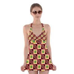 Squares And Rectangles Pattern                           Halter Swimsuit Dress