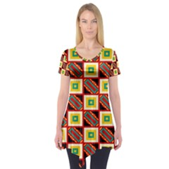 Squares and rectangles pattern                   Short Sleeve Tunic