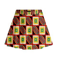 Squares and rectangles pattern                                                                                            Mini Flare Skirt