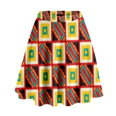 Squares and rectangles pattern                                                                                            High Waist Skirt
