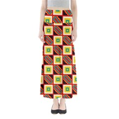 Squares And Rectangles Pattern                                            Women s Maxi Skirt