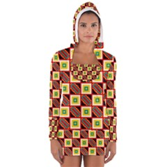 Squares And Rectangles Pattern                                                                                          Women s Long Sleeve Hooded T Shirt