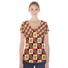 Squares and rectangles pattern                           Short Sleeve Front Detail Top