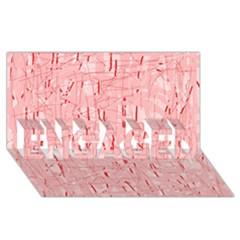 Elegant pink pattern ENGAGED 3D Greeting Card (8x4)