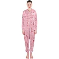 Elegant pink pattern Hooded Jumpsuit (Ladies)