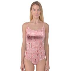 Elegant Pink Pattern Camisole Leotard