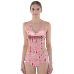 Elegant pink pattern Cut-Out One Piece Swimsuit