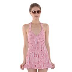 Elegant pink pattern Halter Swimsuit Dress