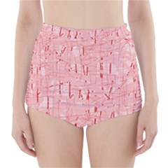Elegant pink pattern High-Waisted Bikini Bottoms