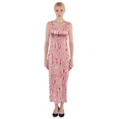 Elegant Pink Pattern Fitted Maxi Dress